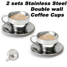 Material Stainless Steel 2 Sets 6 5oz Espresso Coffee Cups And Saucers Double Wall Mug Travel Tumbler Tea