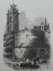 London ST. GILES CHURCH CRIPPLEGATE SHOWS OLD WALL Original Victorian Print 1878
