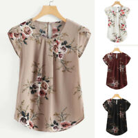 Women Round Neck Floral Pleated Basic Tops Casual Short Sleeve Shirt Blouse Tee