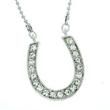 Horseshoe W Swarovski Crystal Luck Charming Cute Chic New Pendant Necklace L