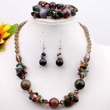 Indian Agate Gemstone Chip Beads Necklace Bracelet Earrings 1 Set  Fashion