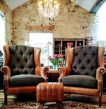 Granby Harris Tweed &  Leather Wingback Armchair Gentleman's club chesterfield