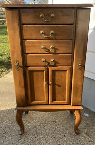 Beautiful Vintage Ethan Allen Country French Jewelry Armoire Fruitwood Finish
