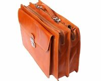 Italian Handmade Leather Briefcase Handcrafted in Florence Italy 7621