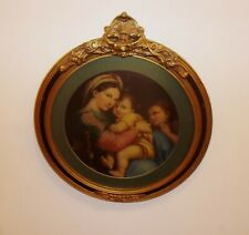 Vgt. Madonna of the Chair Art Print Framed in an Antique Rocco Plaster Frame