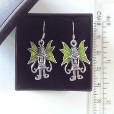 Sterling silver green enamel Magic Fairy drop dangle earrings pixie elf new