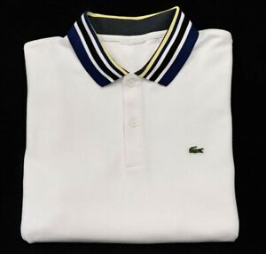 "LACOSTE ALLIGATOR FRANCE Short Sleeve Golf Polo Shirt Mens 20"" pit to pit White"