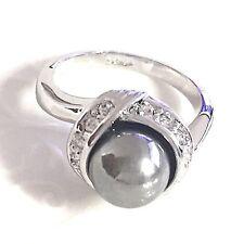 18K White Gold Plated Round Gray Pearl Diamond Band Ring Women Jewelry Gift