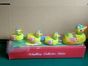 Schylling Wind Up DUCK FAMILY TIN TOY With Box - Mother duck with ducklings