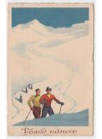 Tarjeta Postal Baby Navidad Antigua Esquiadores Montaña Vaséle Vanoce -defecto