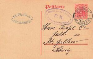 452863) DR GSK 10 Pf. Germania Straßburg 1915 in die Schweiz, Zensur-Oval