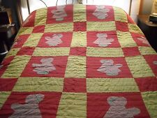 Vintage red and yellow Sunbonnet Sue quilt