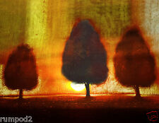 Vintage Art/Painting/Poster/Three Trees/Shadow and Light/Sun /17x22 inch
