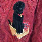 Vtg Mens XL Acorn 100% Wool Cable. Ugly Christmas Sweater. Velvet Black Lab Dog