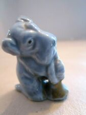 "Vintage Japan Blue Miniature Schnauzer Dog Figurine playing horn. 2"" tall"