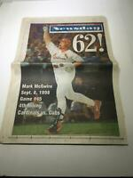 Newsday: Sept 9 1998 62!, Mark Mcgwire HR home run chase ST louis cardinals