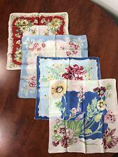 New listing Vintage Lot 4 Handkerchiefs Hankie Floral Flowers Pattern Cotton Linen