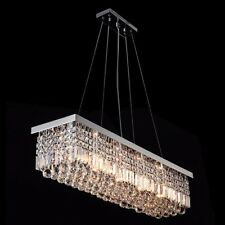Luxury Modern 120cm Rectangle LED Raindrop Crystal Dining Room Chandelier