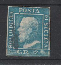 FRANCOBOLLI 1859 SICILIA 2 GR. AZZURRO CHIARO POSIZIONE 83 III° TAVOLA D/1591