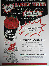 Vintage 1950's LUCKY TIGER Butch Wax Stick Barbershop Color Drawing Sign Ads