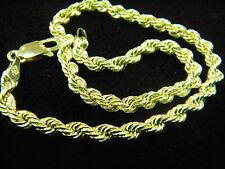 Men's Gold Rope Bracelet 10K Real Gold Rope 3mm Women's Bracelet 8 Inches A2B3G