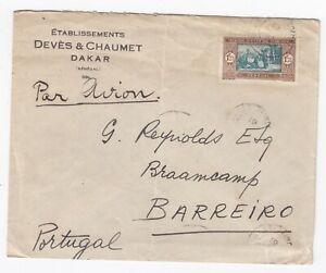 1937 Air Mail Dakar Senegal to Barrieiro Portugal - Lisbon Postal History Cover