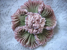 Sale Vintage style ribbonwork flower corsage, handsewn, french ombre, Millinery