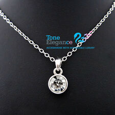 9ct 9k white gold GF Bezel Solitaire womens Necklace made with swarovski