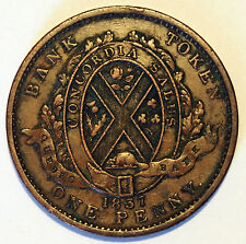 1837 Canada - Quebec Bank Penny Trade Token - 34 mm - 18.7 grams  Die Axis Up/Up