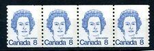 Weeda Canada 604iv VF MNH 8c Royal Blue Caricature strip of 4 on DF CV $4