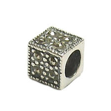 Antique STR Silver Cube Square Marcasite Dots Bead Spacer for Charm Bracelets