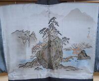 Men's Silk Tsumugi Kimono & Haori jacket SET Japanese vintage Landscape /689