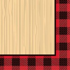 PLAID LUMBERJACK LUNCH NAPKINS (16) ~ Christmas Birthday Party Supplies Dinner