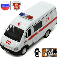 Diecast Vehicles Scale 1:36 GAZ 2705 Gazelle Russian Ambulance Toy Cars