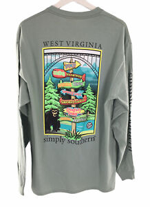 WEST VIRGINIA Simply Southern Long Sleeve Pullover T Hazel Cotton Poly Women NWT