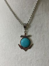 Anchor Turquoise Pendant Adjustable Necklace Cruise Beach New With Tags