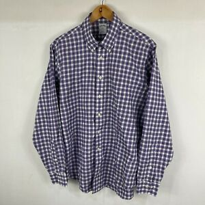 Brooks Brothers Mens Button Shirt Large Purple Plaid Long Sleeve Collared Slim