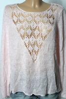 ONLY Pullover Gr. L rosa Strick Damen Pullover mit Häkel Einsatz