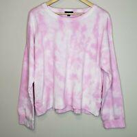 J. Crew Tie Dye Sweatshirt Pale Pink Sweater Crew Neck Boyfriend Pullover XL
