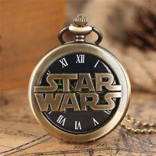 Bronze Star Wars Design Quartz Pocket Watch with Necklace Chain Christmas Gifts