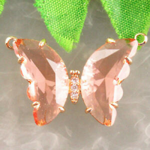 Wrap Gold Faceted Pink Crystal Butterfly Connector Pendant Bead R19714