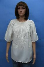 VINTAGE HUNGARIAN WHITE Hand Embroidered MATYO Peasant Folk Hippie Blouse