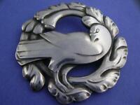 "Vintage Sterling GEORG JENSEN Large 2 3/8"" Pin Brooch Dove Bird no. 70 Denmark"