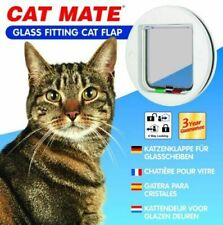 Pet Mate Circular Glass Fitting 4 Way Locking Cat Flap White 210w