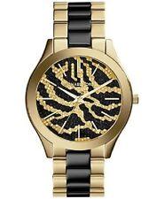 Michael Kors Slim Runway Black and Gold-Tone Stainless Steel Watch 42mm MK3315