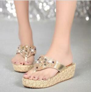 Rhinestone Womens Wedge Heels Flip Flops Slippers Summer Shoes Beach Sandals sz