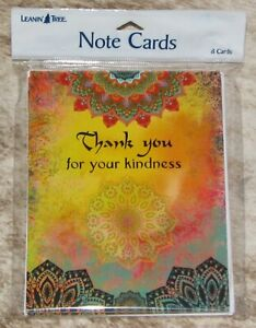 """LEANIN TREE """"Thank You For Your Kindness"""" #35587~Pack 8 Notecards~Colored Inside"""