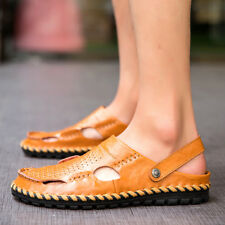Men's Breathable Summer Casual Leather Sandals Flat Slippers Closed Toe Shoes