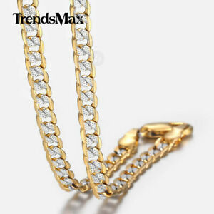 "4mm 18-30"" Diamond-Cut Curb Cuban Link Gold Filled Chain Necklace Men Women"