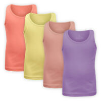 Girls Ribbed Vest Top Assorted Colours Children Kids Stretch Sleeveless T-shirt